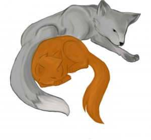 Silver Fox and Red Kitten by Kinzie K.